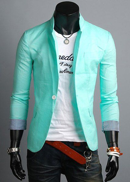 $18.75 Casual Style Turn-dowm Collar Slimming Color Block Stripes Cuffs Design Long Sleeves Linen Blazer For Men