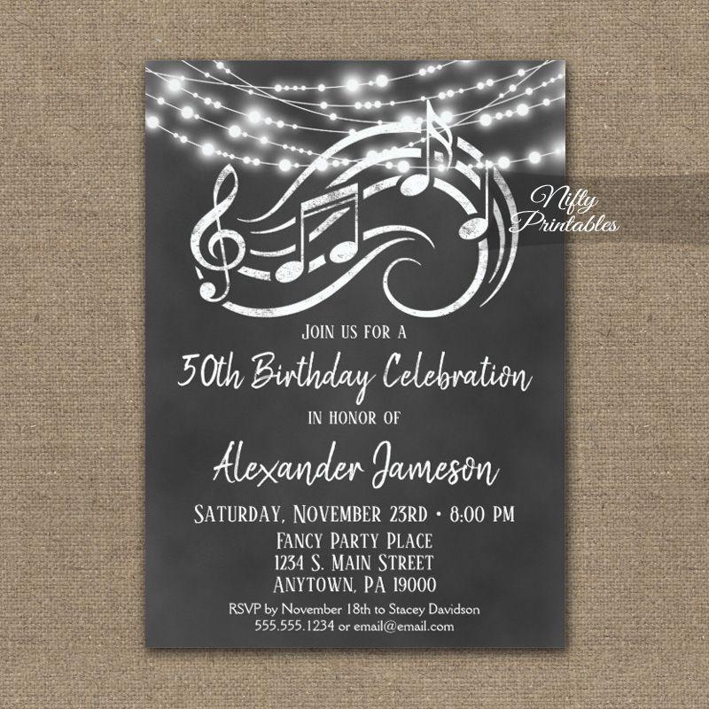 Birthday Invitation Music Chalkboard Lights Printed Music Themed