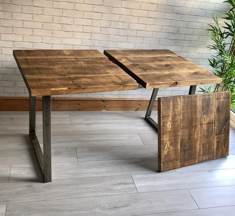 Extending Industrial Dining Table And Bench Package Trapezium