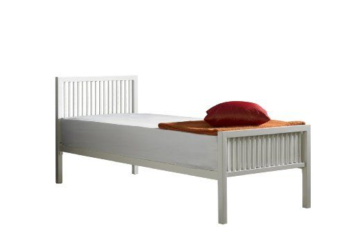 Boston Small Single Metal Bed (2ft6) in Ivory White with Quilted Mattress