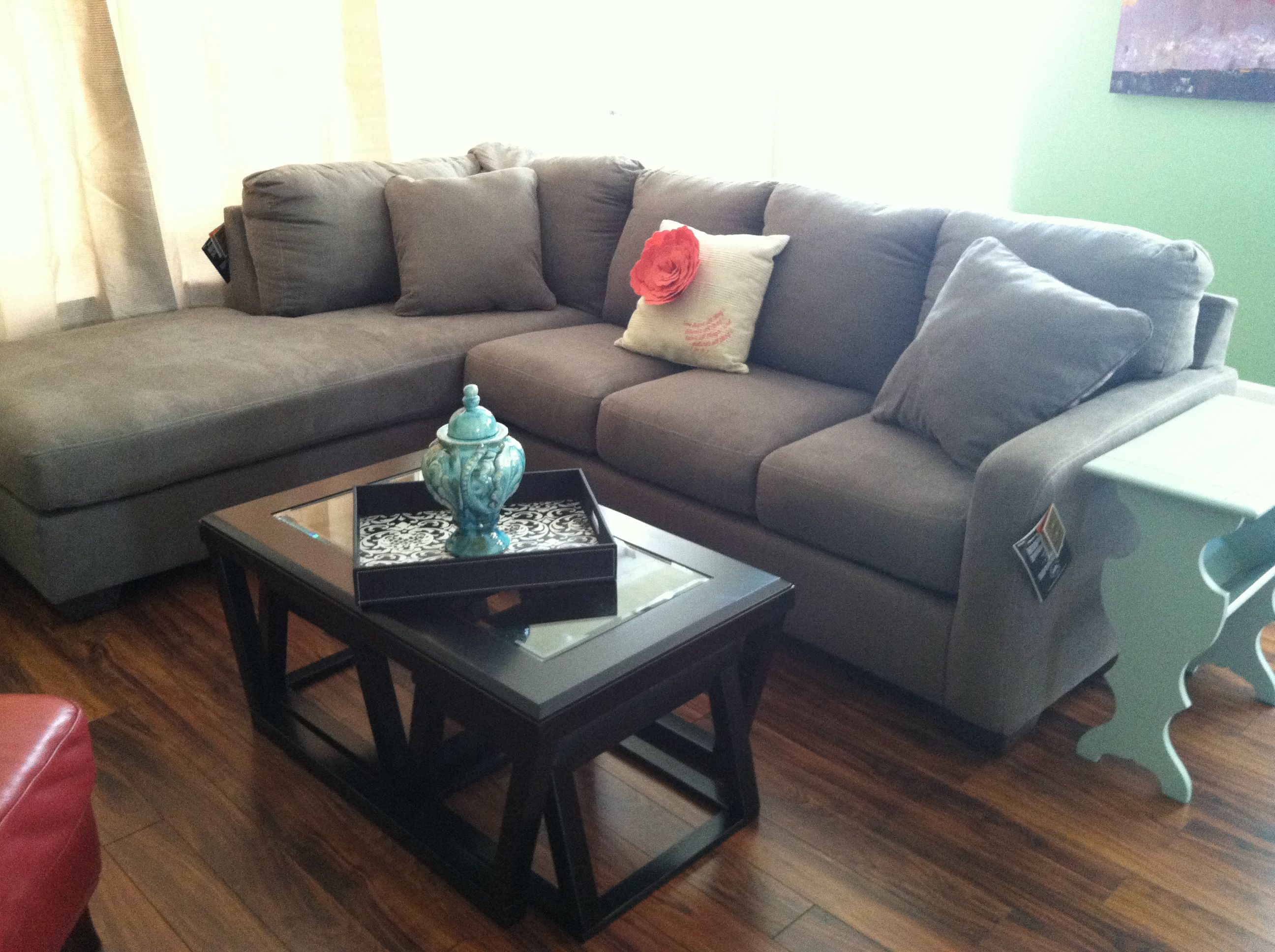 gray couch blue end table Living Space Pinterest