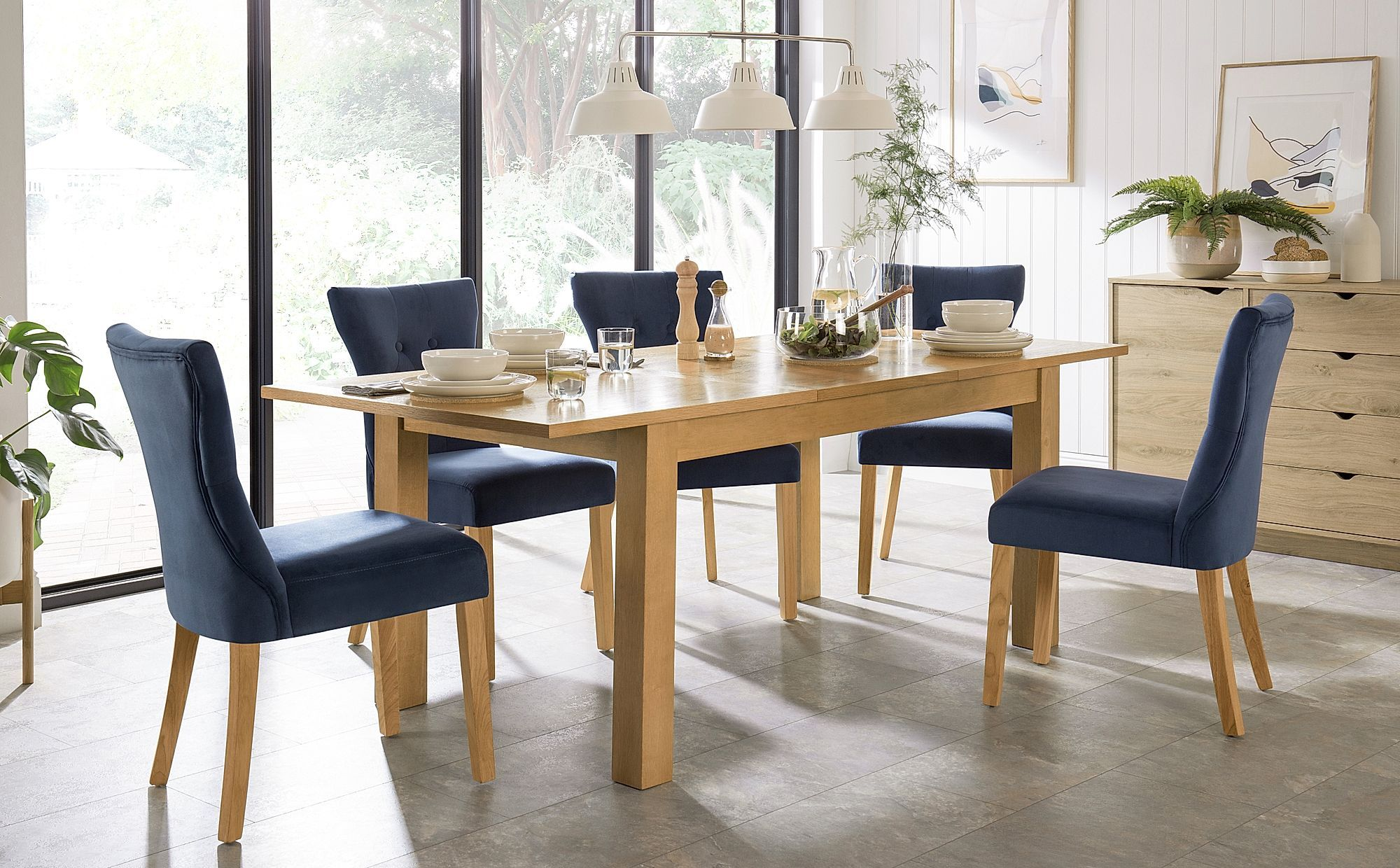 Hamilton Oak 150 200cm Extending Dining Table With 4 Bewley Blue
