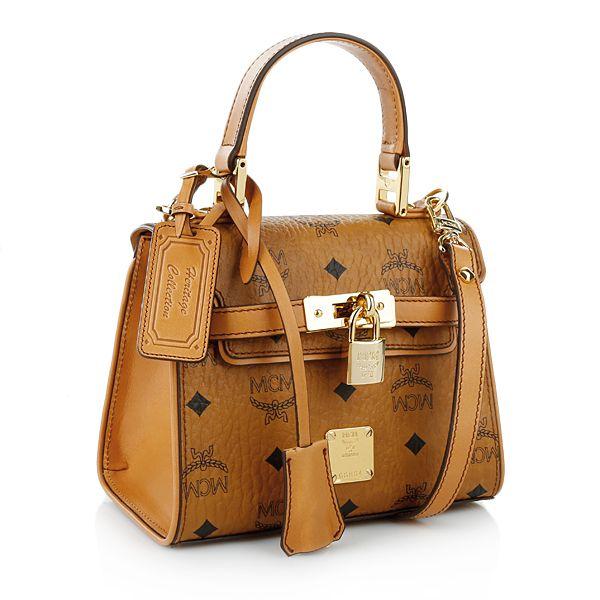 MCM Heritage Satchel Mini Cognac bei Fashionette | Mcm