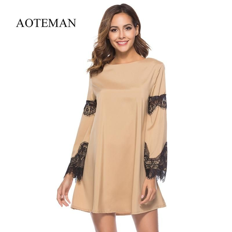e01a245e3a9 AOTEMAN Casual Autumn Summer Dress Women New Sexy Hollow Out Lace Patchwork  Sleeve Dress Vintage Elegant Party Dresses Vestidos