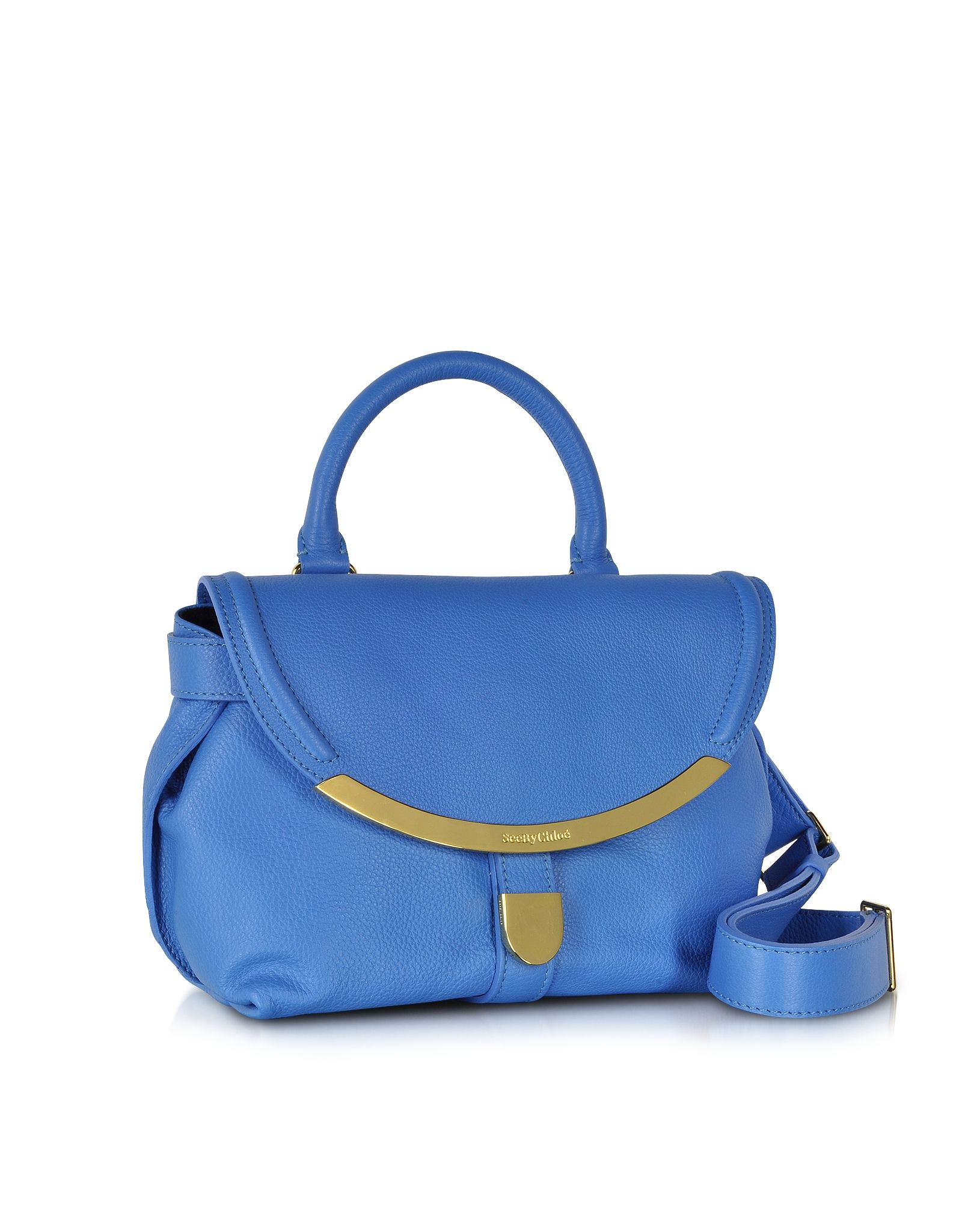 Lizzie Small Satchel Bag See by Chloé Blue California su FORZIERI