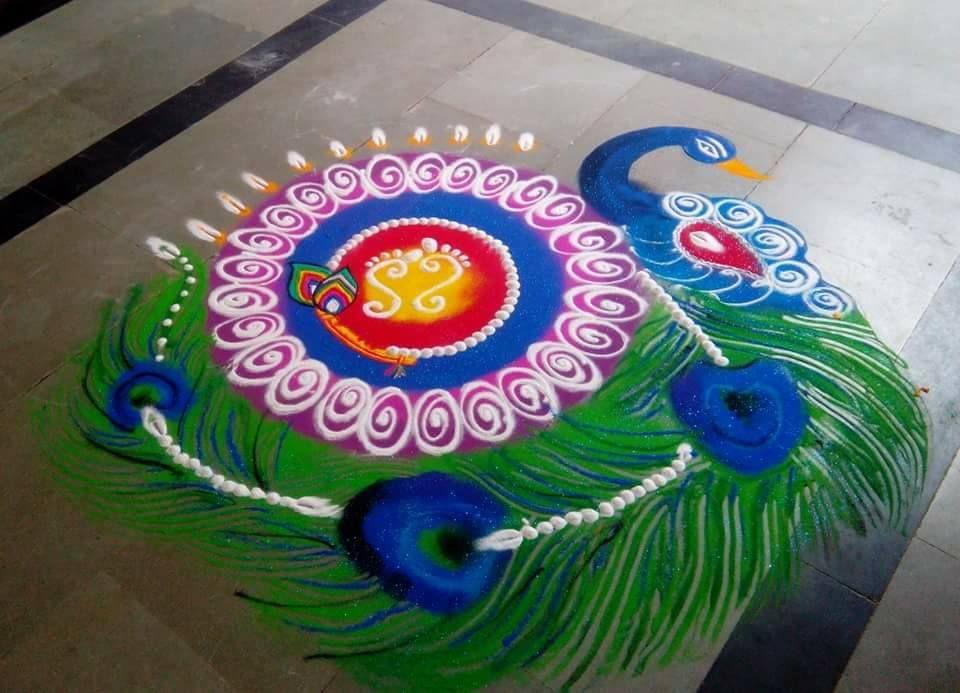 20 Beautiful Simple Peacock Rangoli Designs K4 Craft Rangoli