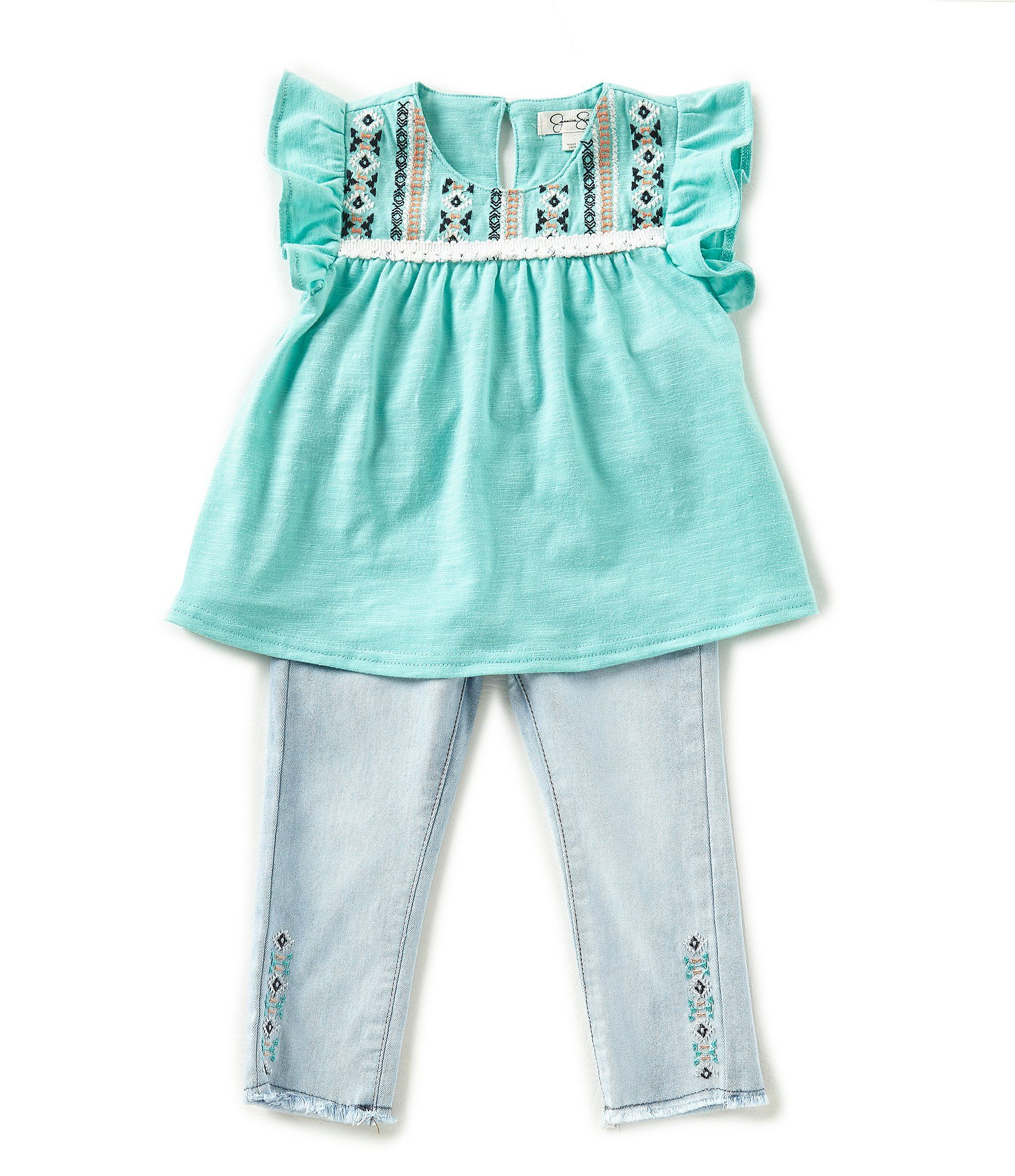 Jessica Simpson Baby Girls 12 24 Months Embroidered Top & Denim