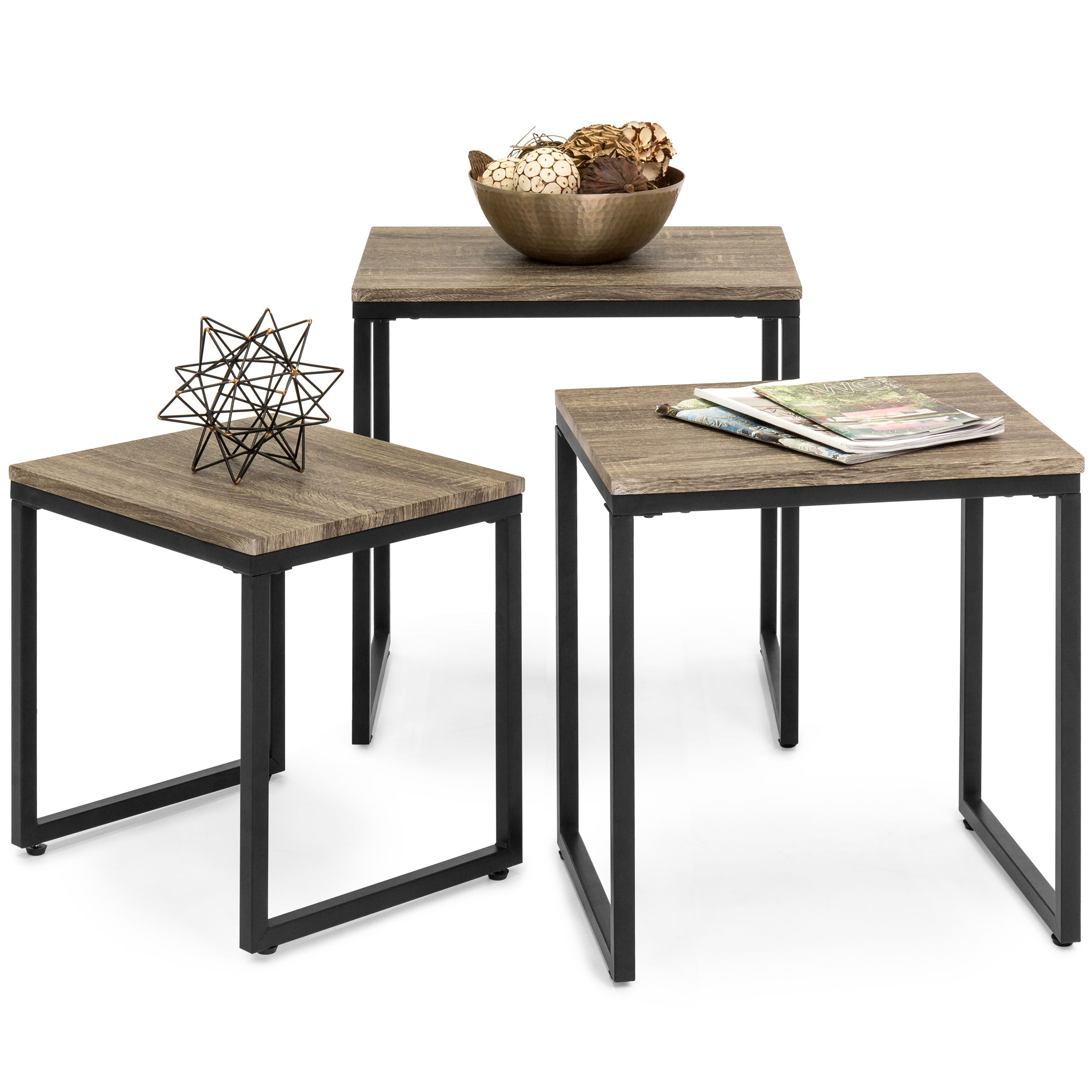 Best Choice Products 3 Piece Modern Stackable Nesting Coffee Accent End Table Living Room Furniture Set Brown Walmart Com Living Table Living Room Sets Furniture Coffee Table [ 2600 x 2600 Pixel ]
