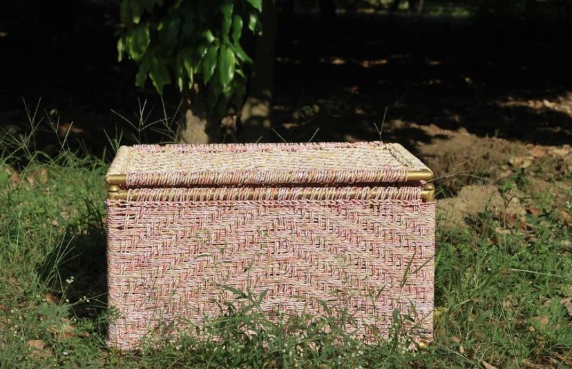The Bulbul Trunk Box is a multifunctional storage box made from the wrappers of an Indian wheat flour brand. It is a part of our Sirohi collection and can be used to store a large number of items. Handwoven by our skilled artisans using a traditional technique passed down from generations, this box can also be used as a table. #wastetowow #wovenfurniture #vintagefurniture #charpoy #charpai #weaversofinstagram #sustainableliving #sustainabledesign #circulareconomy #circularfurniture #supportyourl