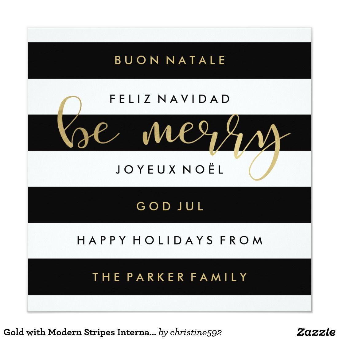 Gold with Modern Stripes International Christmas Card | Christmas ...