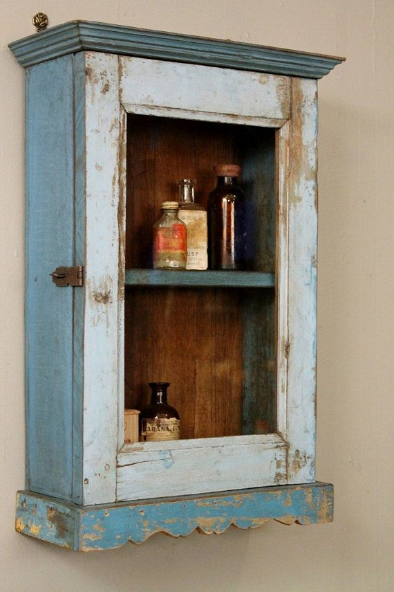 Vintage Reclaimed Wood Sky Blue Distressed By Hammerandhandimports 139 00 My Farmhouse Look Medicine Cabinets Rustic Storage Cabinet