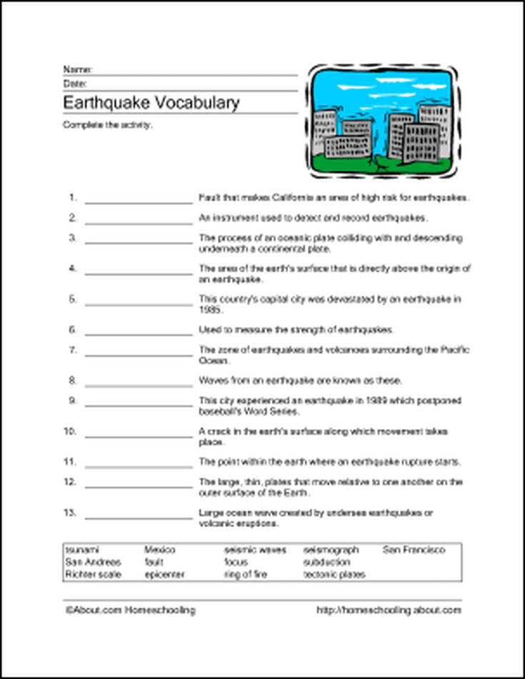 download these printable earthquake word games word games earth science and homeschool. Black Bedroom Furniture Sets. Home Design Ideas