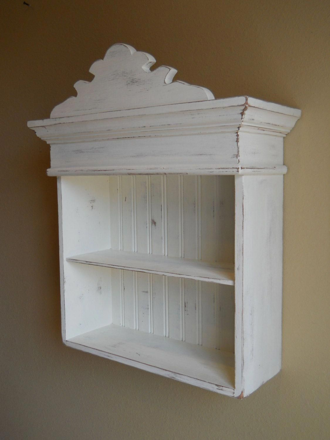 Distressed White Cabinet Bathroom Cabinet Kitchen Cabinet Hanging Wall Cabinet Shabby Chich Shabby Chic Cabinet Shabby Chic Bathroom Shabby Chic Bathroom Decor [ 1500 x 1125 Pixel ]