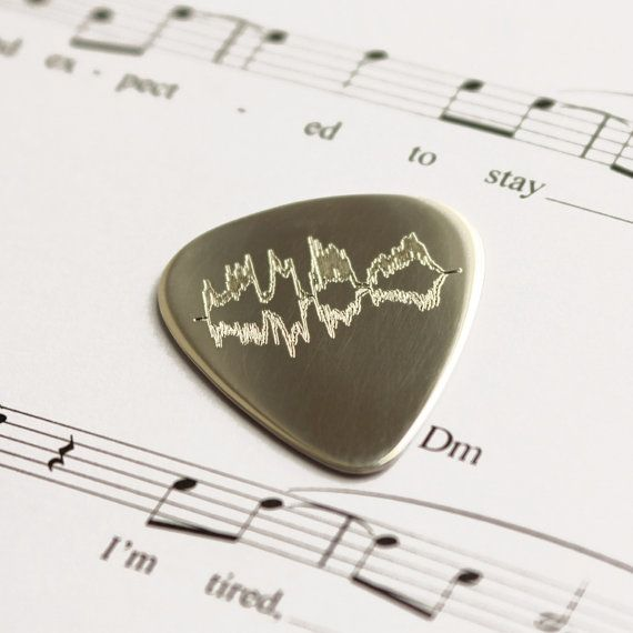 Personalised Sterling Silver Sound Wave Plectrum Voice Song Sound Wave Engraved Guitar Pick Music Lover Teenager Dad Father Day Birthday 925 Gift For Music Lover Sound Waves Silver Anniversary Gifts