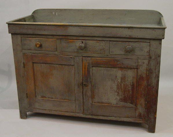 Dry Sink In Old Blue Green Paint Walnut Antique Dry Sink