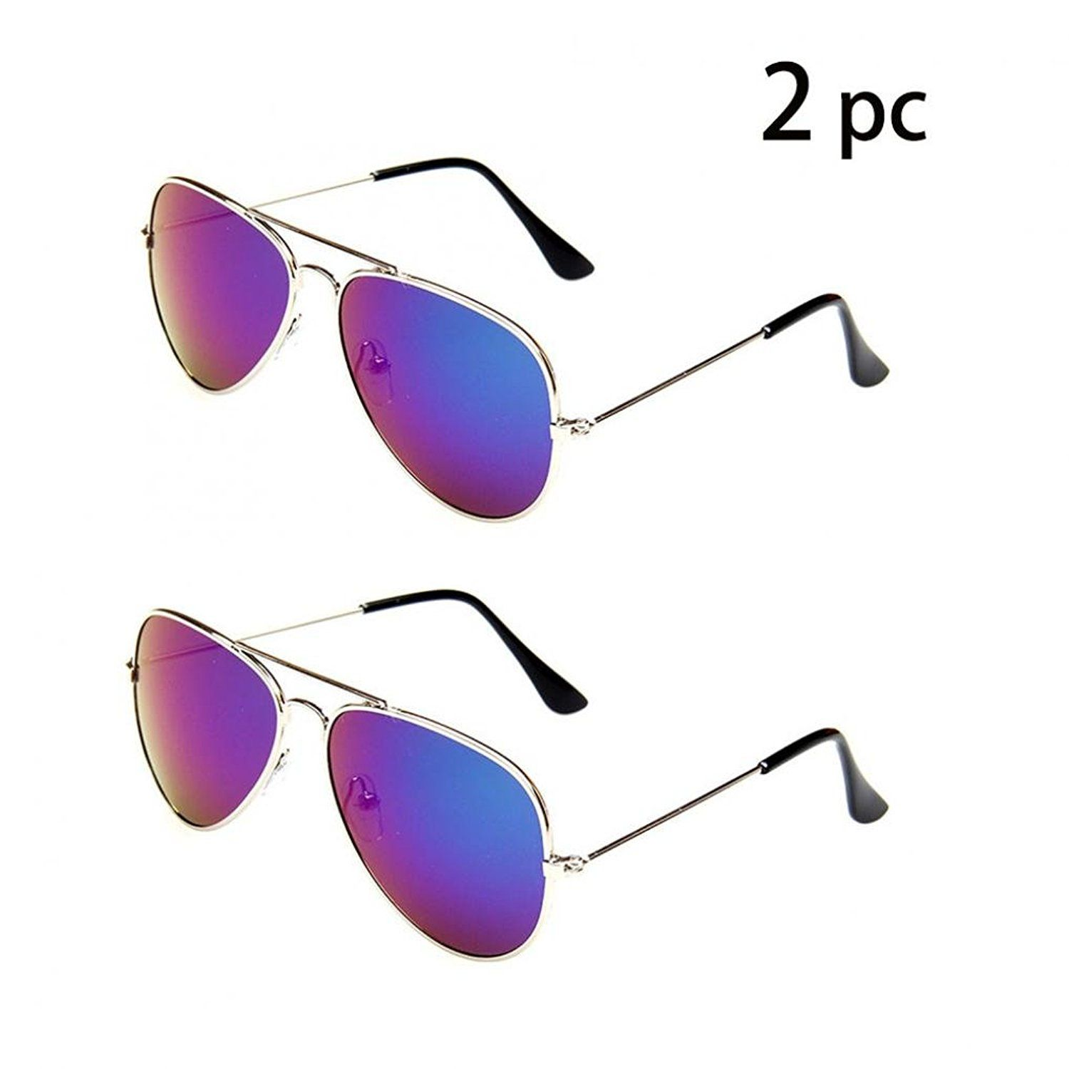 778dc46063 WODISON Classic Kids Aviator Sunglasses Bulk Reflective Metal Frame Children  Eyeglass 2 Pack