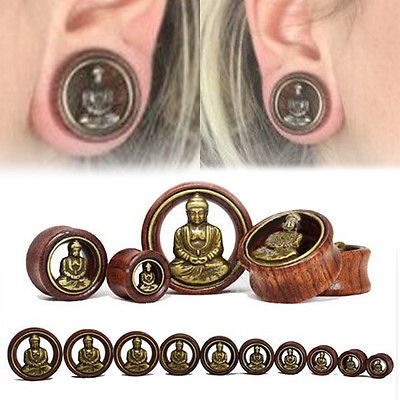 PAIR Abalone Inlaid Tree of Life Screw Fit Tunnels Plugs Earlets Gauges