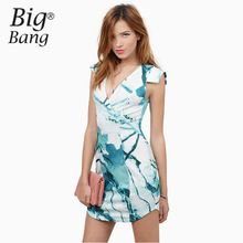 Watercolor Floral Print Bodycon Dresses 2016 Summer Short Sleeve V-neck Women Dresses Asymmetric Sweep Brand Dress M16021501(China (Mainland))