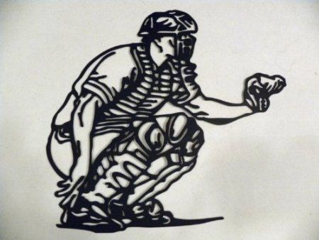 Metal Wall Art Baseball Catcher