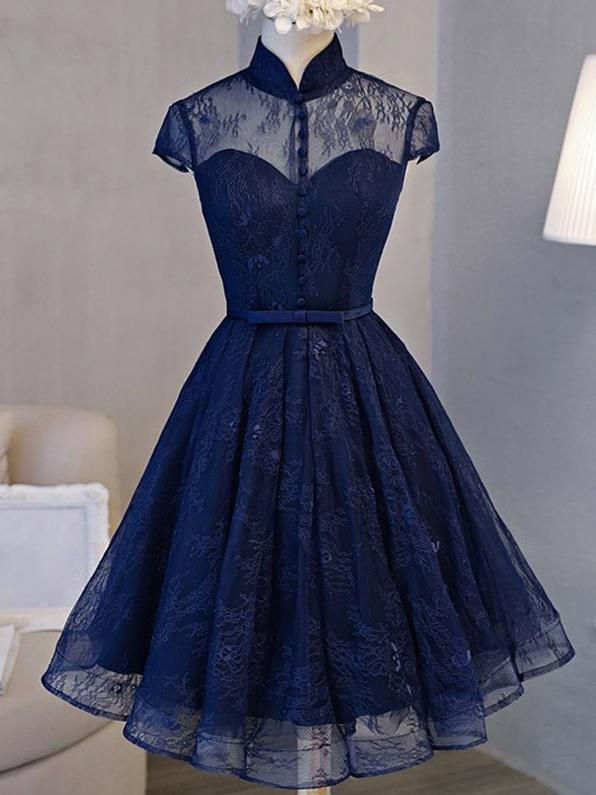 39667eeff79 Sale Cap Sleeve Dresses Short Navy Homecoming Prom Dresses With ...