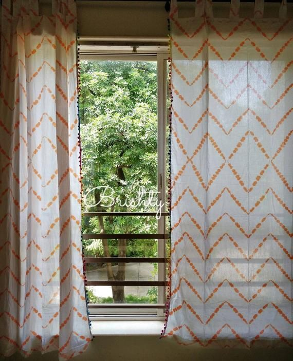 Two Panels Tie Dyed Zig Zag Soft Orange Curtains Light And
