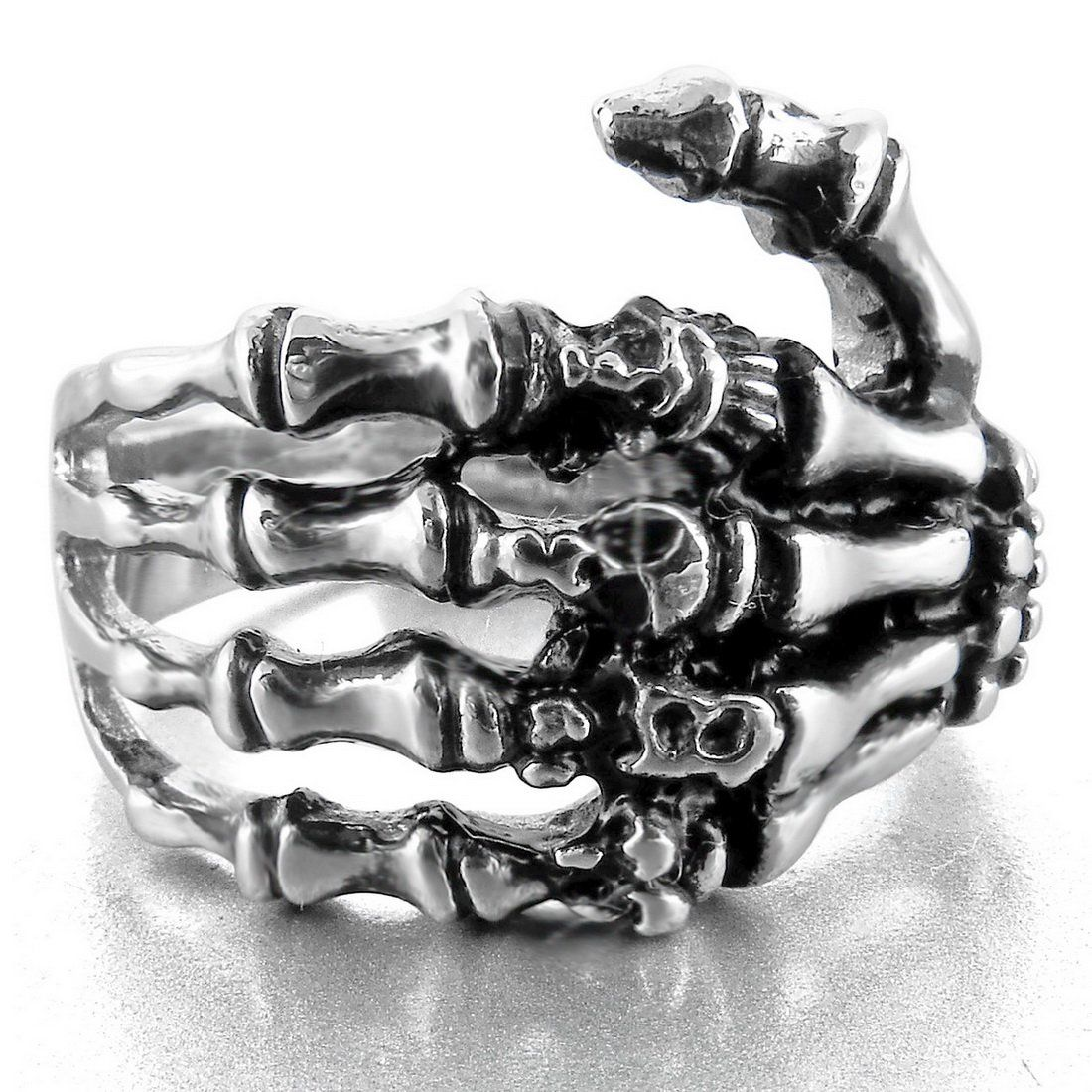 Men's Stainless Steel Ring Band Silver Black