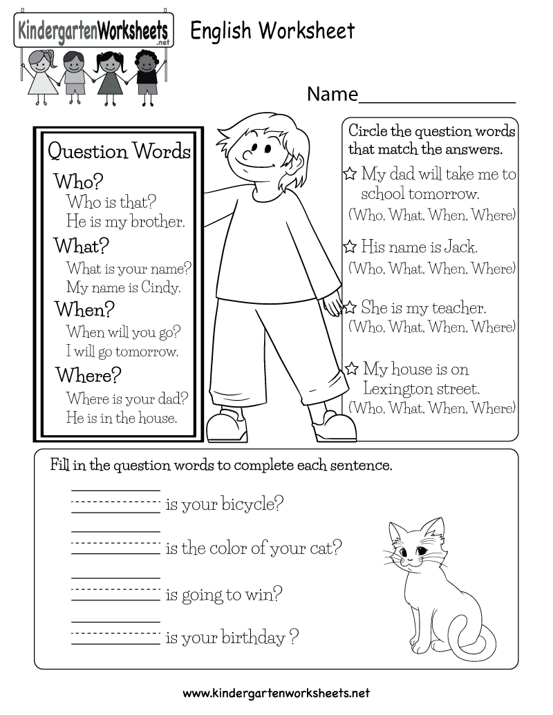 This is a question words worksheet for kindergarteners. Kids ...