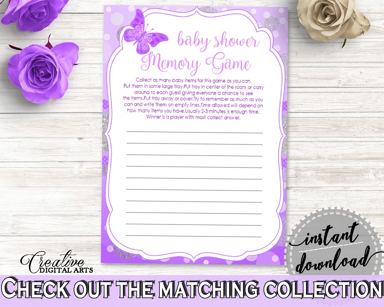 Butterfly Baby Shower Memory Game, Purple White Memory