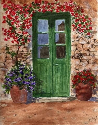 Green Door from T H watercolour book