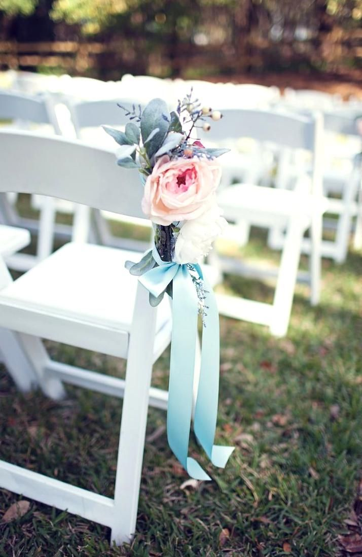 Pastel Light Pink Blush Wedding Ceremony Flowers and Decor  Folding White Chairs with Flowers