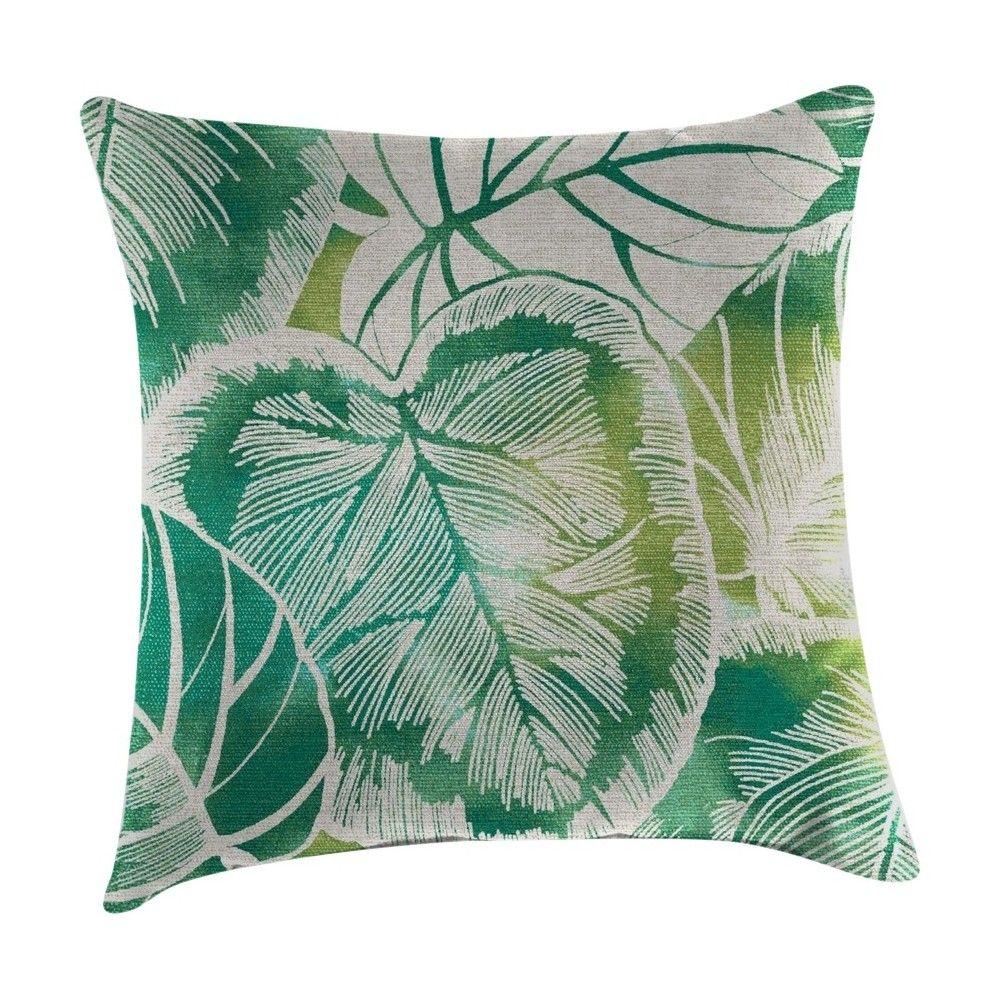 Outdoor Decorative Pillow Set Jordan Manufacturing Lagoon Turquoise Leaf Green Bone