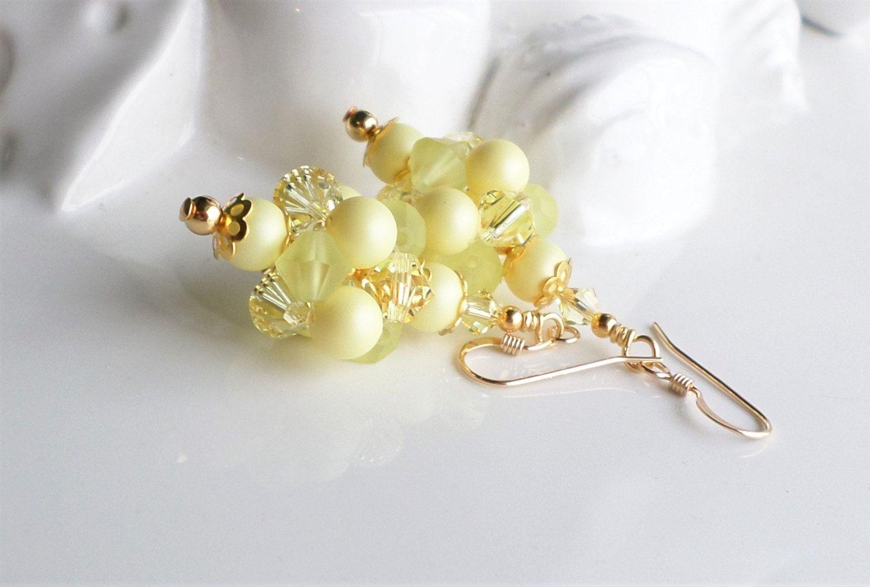 Pastel Yellow Swarovski Crystal and Pearl Cluster Ball Earrings, Yellow Pearl Earrings, Yellow Crystal Cluster Earrings by hhjewelrydesigns on Etsy