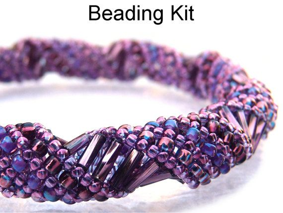 Beading Kit and Pattern - Terebridae Bracelet in Purple Amethyst #2378