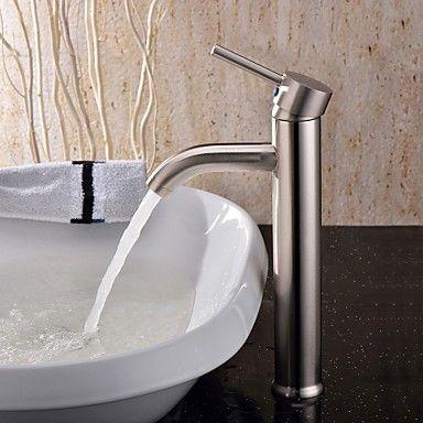 Zeitgenssische Einhand Waschbecken Wasserhahn Nickel gebürstet - wasserhahn küche edelstahl gebürstet