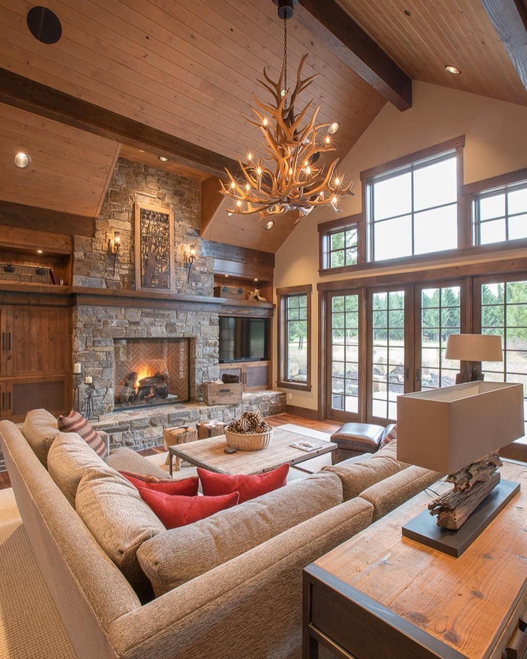 34 Best Lodge Living Room Decorating Ideas Mountain Home Interiors Lodge Style Living Room Cabin Living Room Modern cabin living room