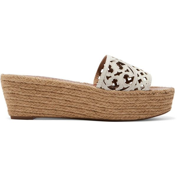 Tory Burch Laser-cut leather platform espadrilles ($115) ❤ liked on  Polyvore featuring