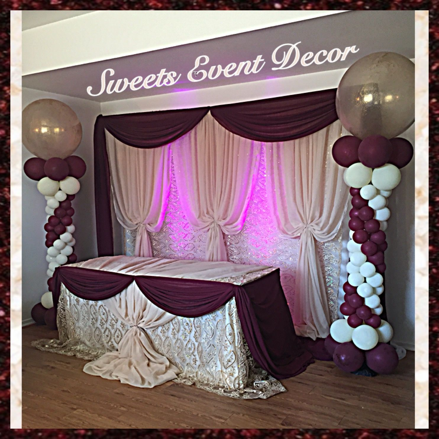 Burgundy Wedding Decoration By: Sweets Event Decor