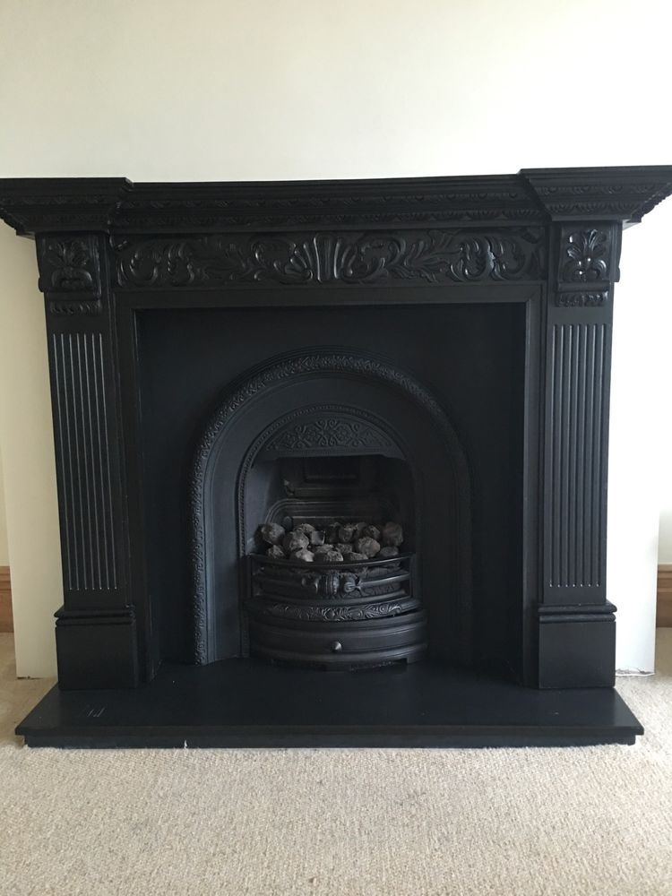 Cast Iron Fireplace Insert And Wooden Surround Vintage Black Period