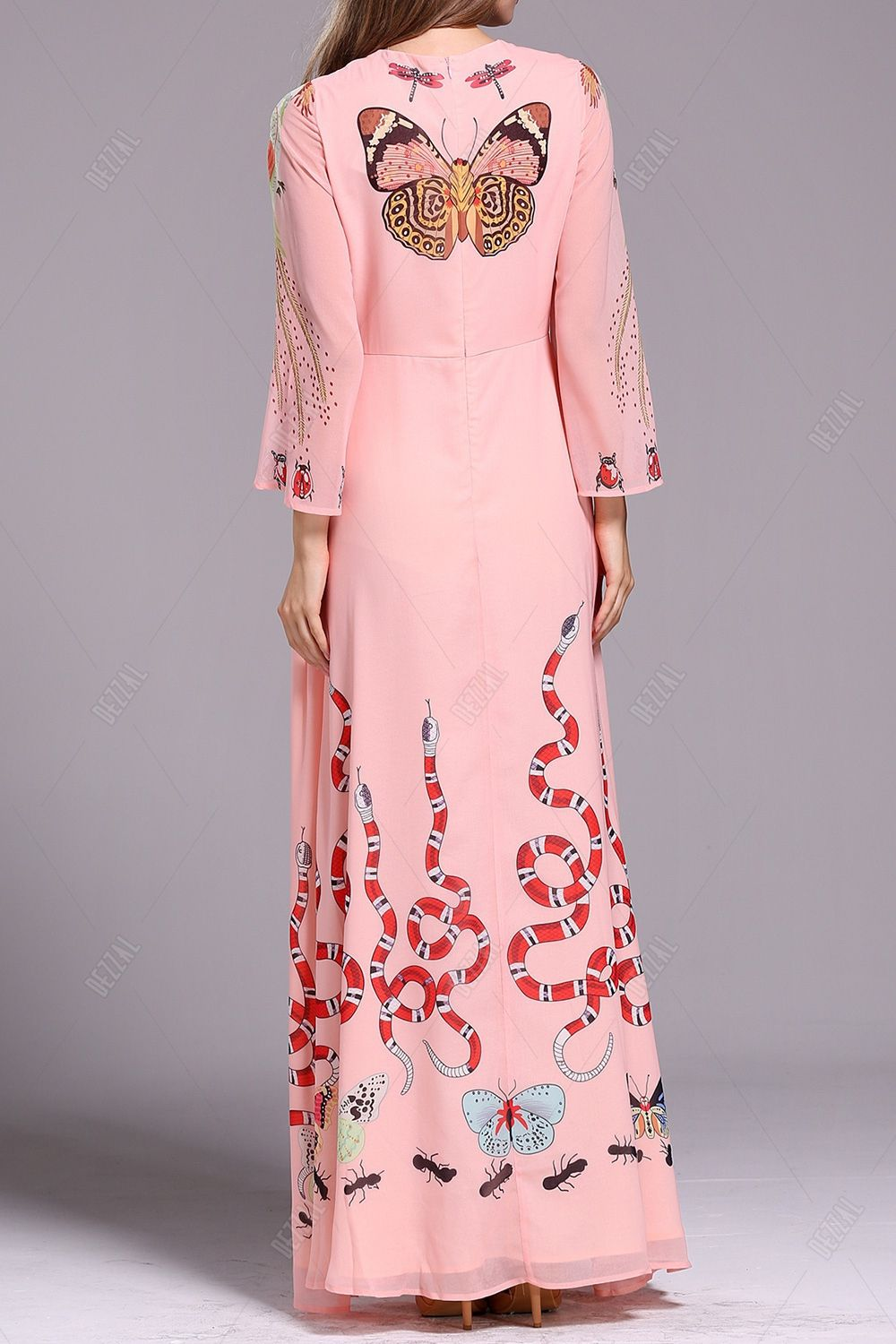 Bell sleeve evening dress pretty me pink for breast cancer