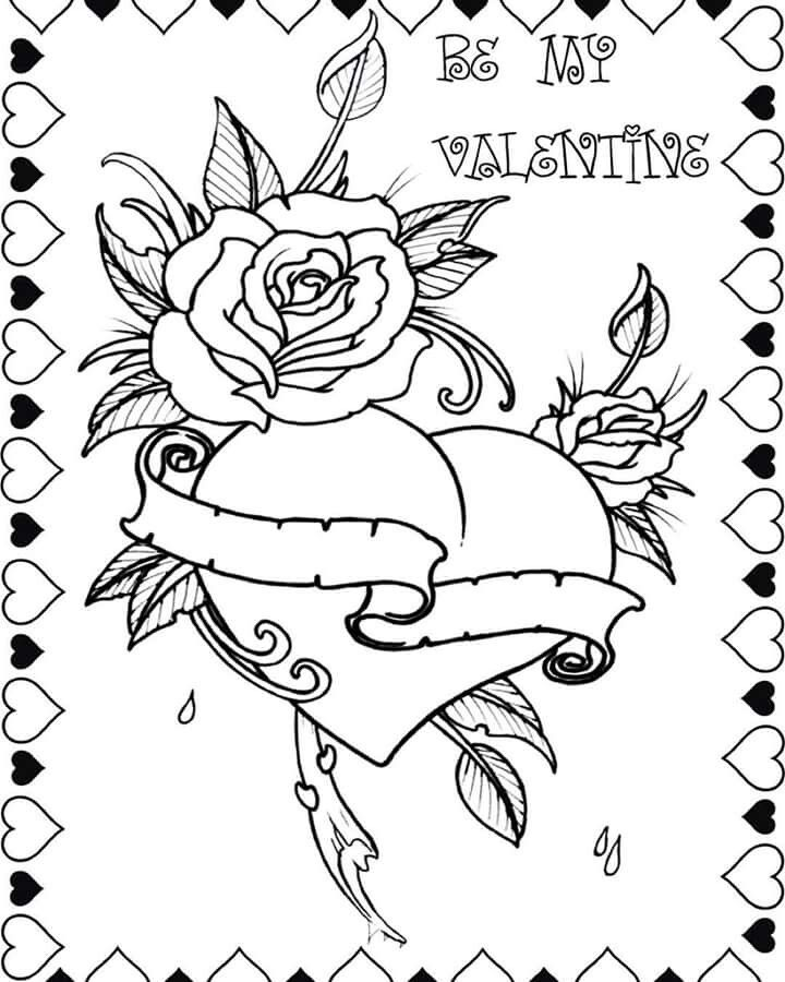 ink rose and tattoos image. roses and hearts coloring pages 334126 ...