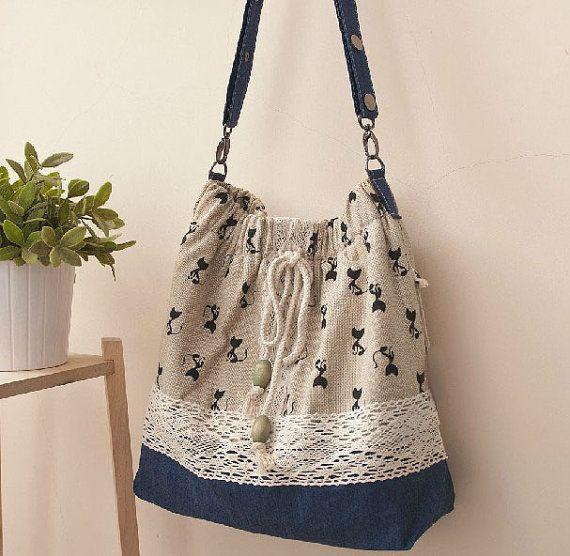 Mori S Messenger Bag Small Fresh Past Retro Cat Printing Lace Diagonal Linen Cloth Shoulder Magnet Eco Friendly Personality