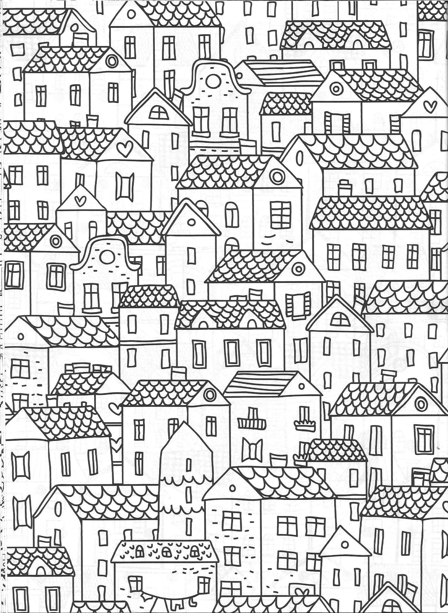 Cityscape Coloring Page Vida Simples Cidade Dos Sonhos Coloring Pages Ink Doodles Colouring Pages