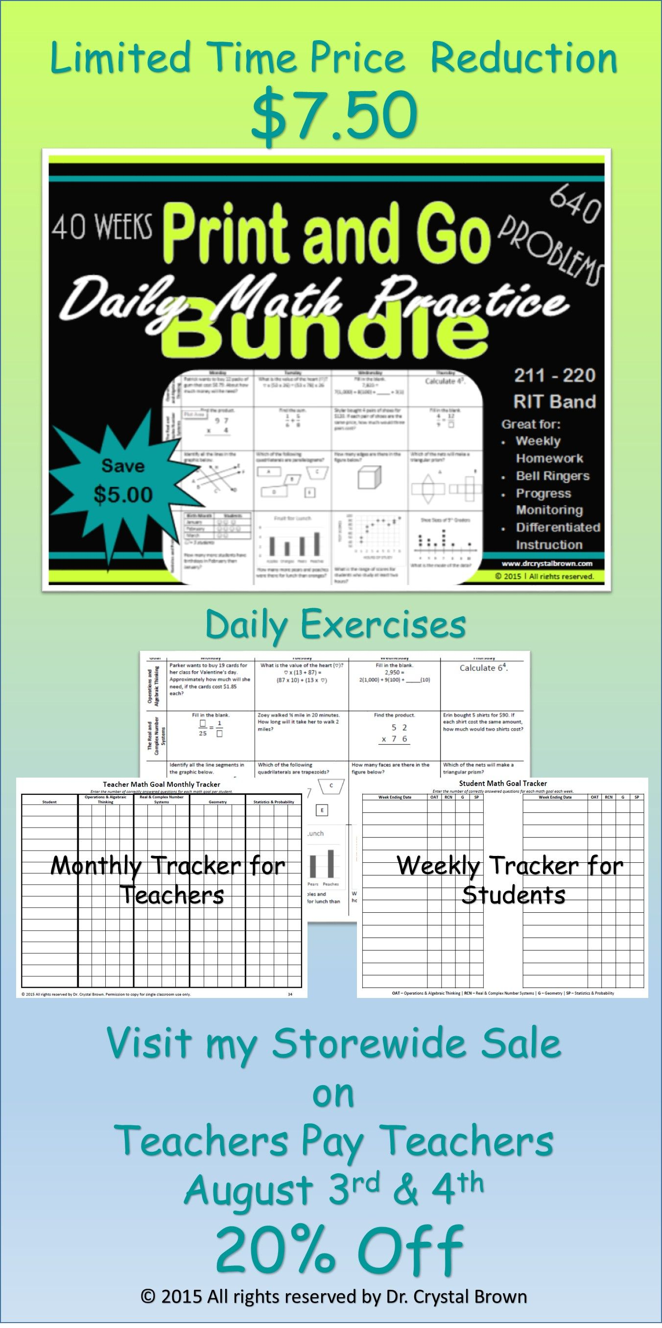 Daily Math Practice Bundle For Rit Band 211