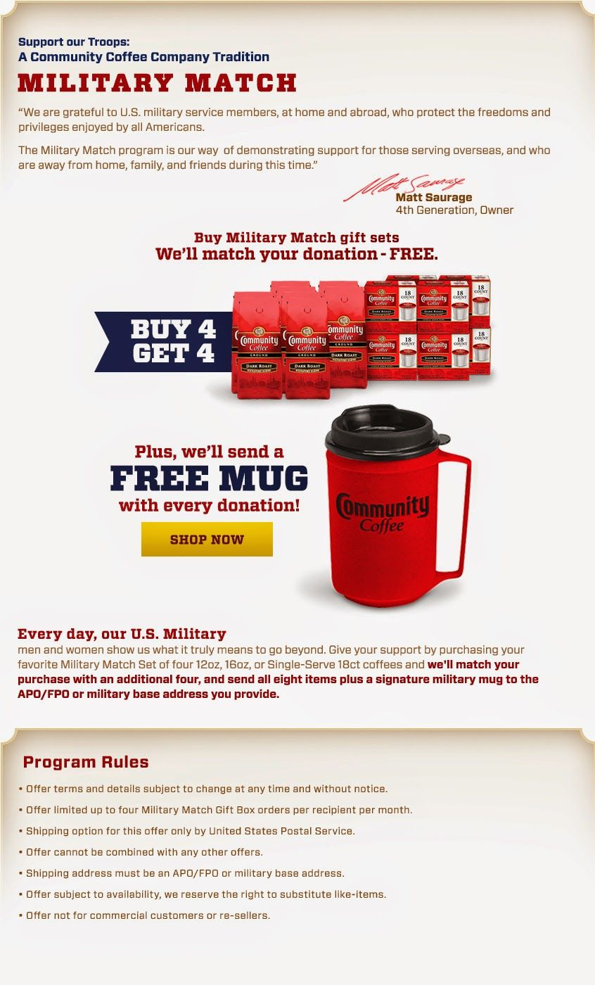 Check Out the Community Coffee Military Match Program