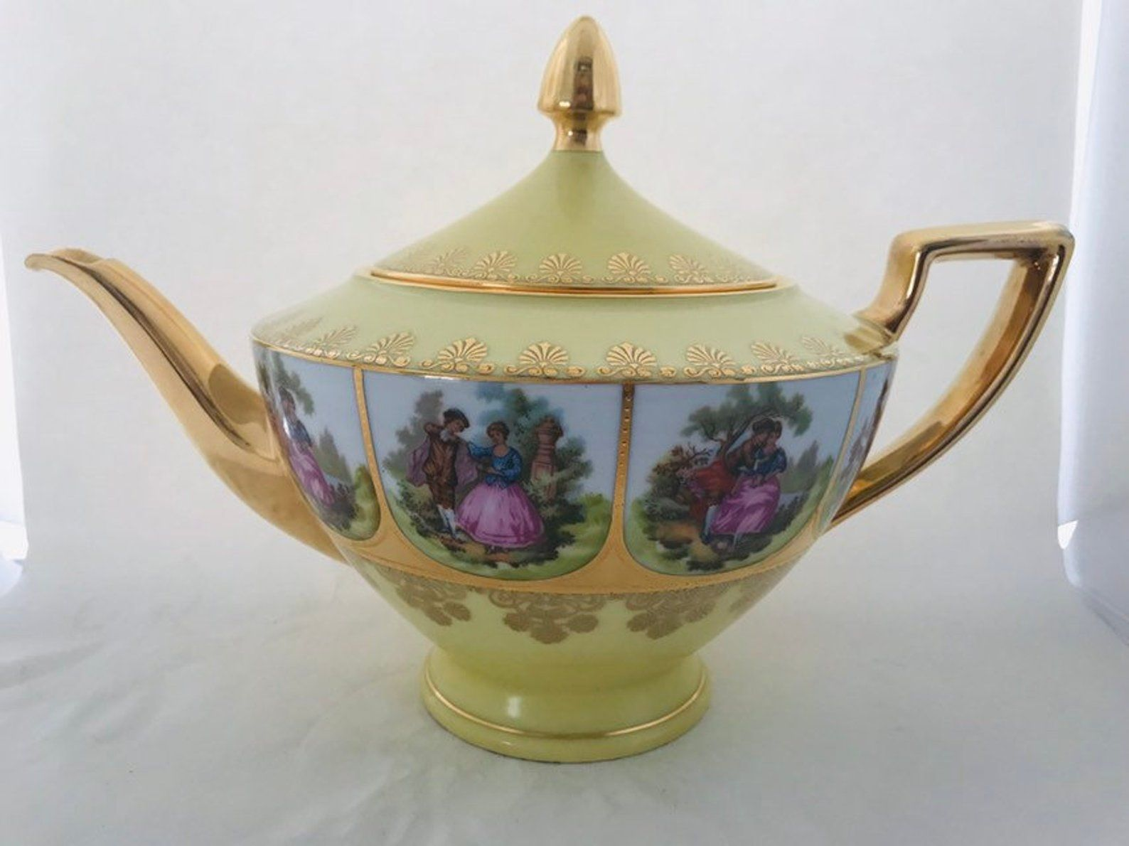 Vintage Fragonard German Teapot With Panels Depicting A Courting Couple Gilt German Bone China Teapot Circa 1940 Tea Pots Bone China Teapots How To Make Tea