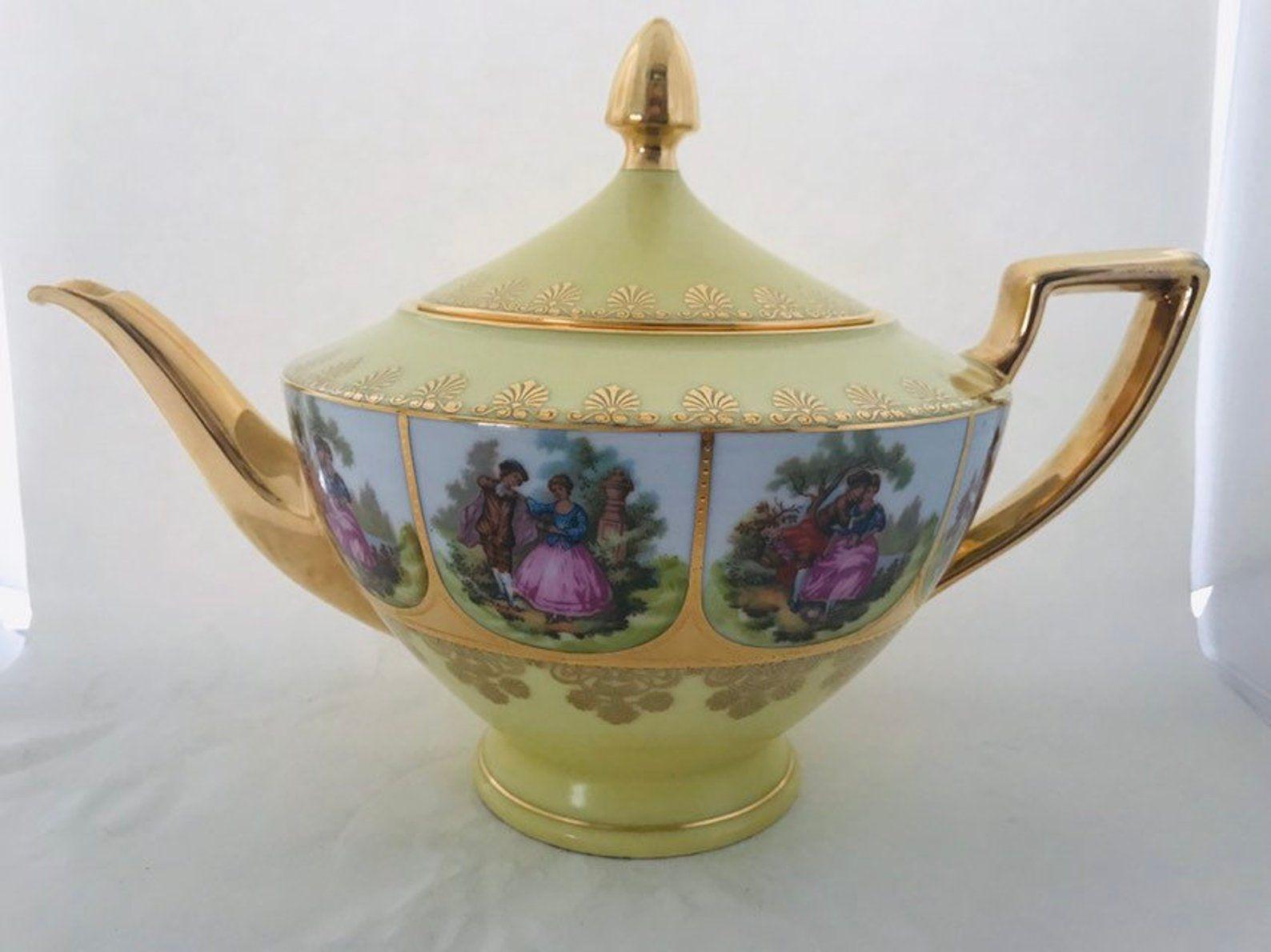 Vintage Fragonard German Teapot With Panels Depicting A Courting Couple Gilt German Bone China Teapot Circa 1940 Tea Pots Bone China Teapots How To Make Tea