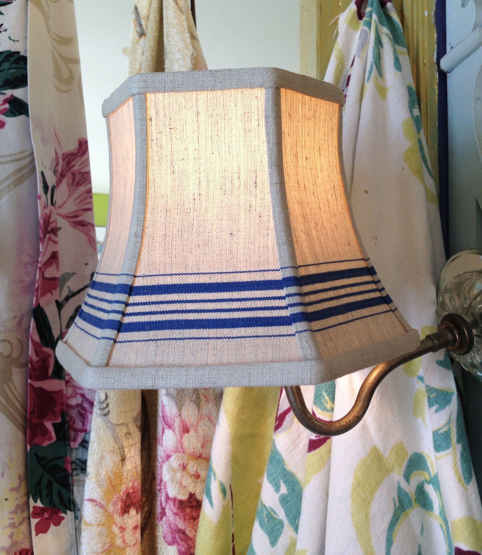 Blue Stripe Lamp Shade Lampshade In Nautical Vintage Mangle Etsy Antique Lamp Shades Lamp Shade Small Lamp Shades