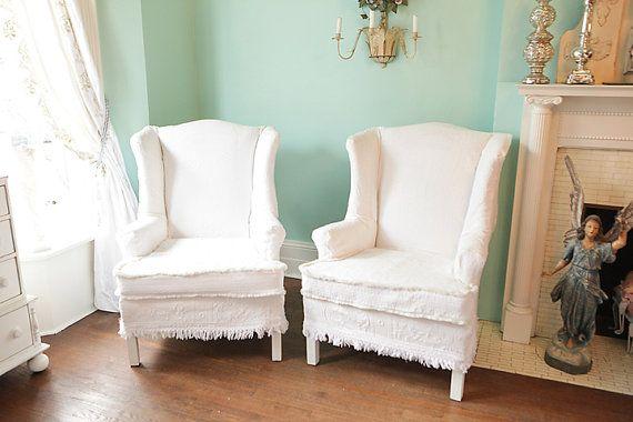 Shabby Chic Wingback Chair S Vintage Bedspread Slipcover Pair Matelasse  White Cottage Prairie Custom Order