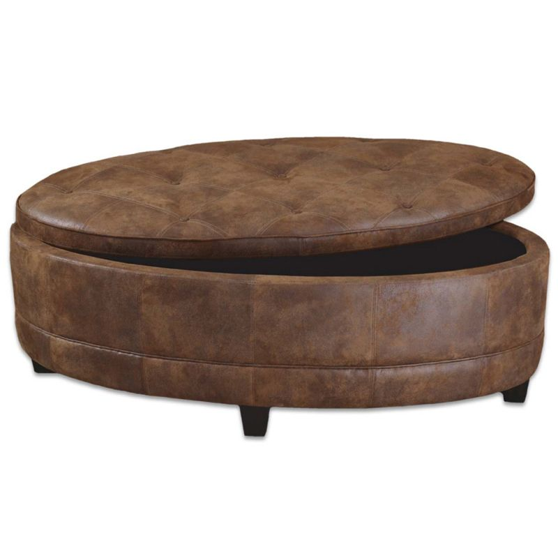 Xl large oval storage ottoman coffee table faux leather Round storage ottoman