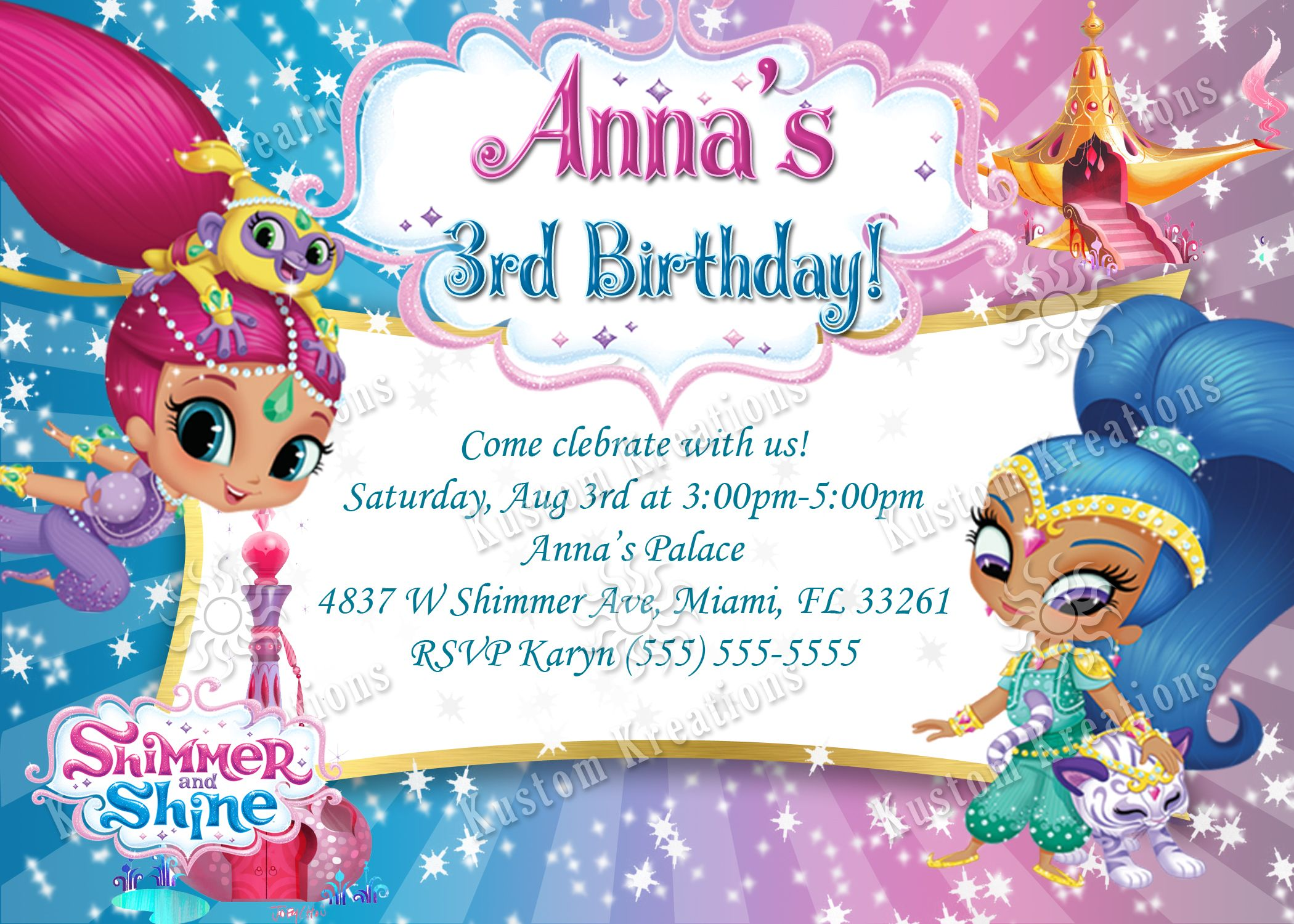 Shimmer and Shine Birthday Invitation | Free printable invitations ...